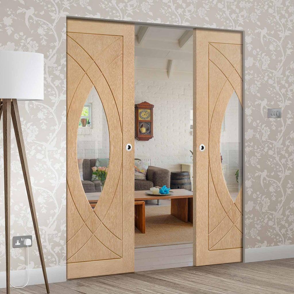 Treviso Oak Absolute Evokit Double Pocket Door - Clear Glass - Prefinished
