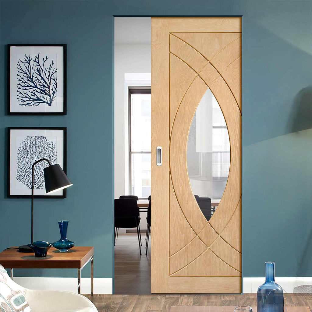 Treviso Oak Absolute Evokit Pocket Door - Clear Glass - Prefinished
