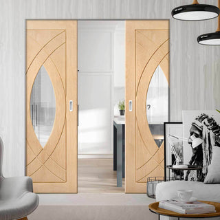 Image: Bespoke Treviso Oak Glazed Double Frameless Pocket Door