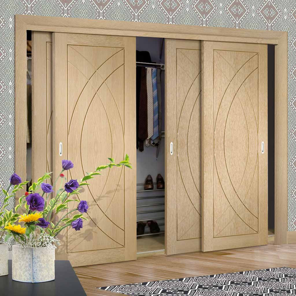 Thruslide Treviso Oak Flush 4 Door Wardrobe and Frame Kit
