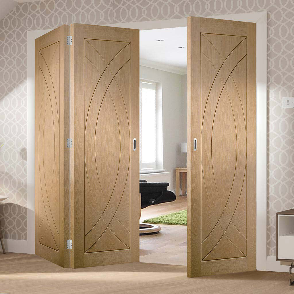 Three Folding Doors & Frame Kit - Treviso Oak Flush 2+1 - Prefinished