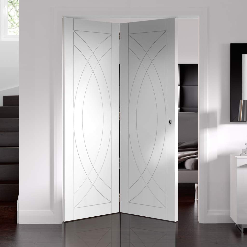 Bespoke Thrufold Treviso White Primed Flush Folding 2+0 Door