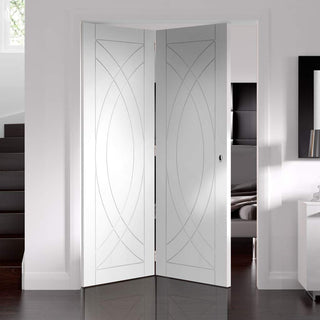 Image: Bespoke Thrufold Treviso White Primed Flush Folding 2+0 Door