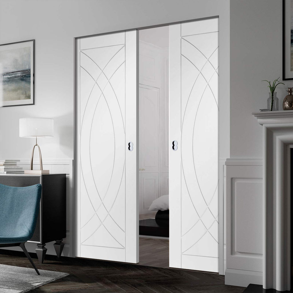 Treviso Flush Absolute Evokit Double Pocket Door - Primed