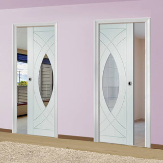 Image: Treviso Unico Evo Pocket Doors - Clear Glass - Primed
