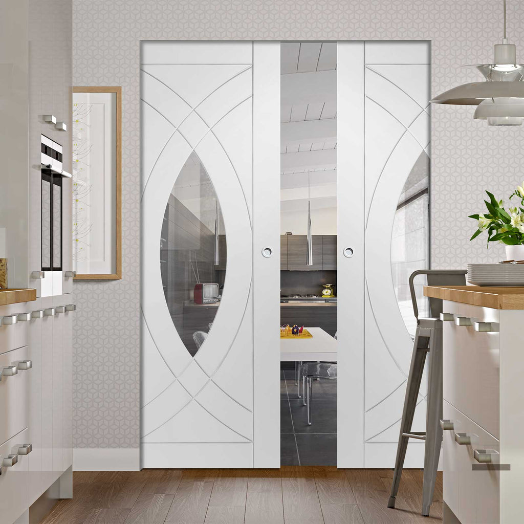 Treviso Absolute Evokit Double Pocket Door - Clear Glass  - Primed