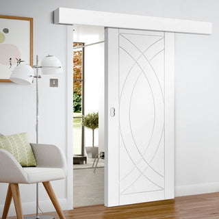 Image: Thruslide Surface Treviso Flush - Sliding Door and Track Kit - White Primed