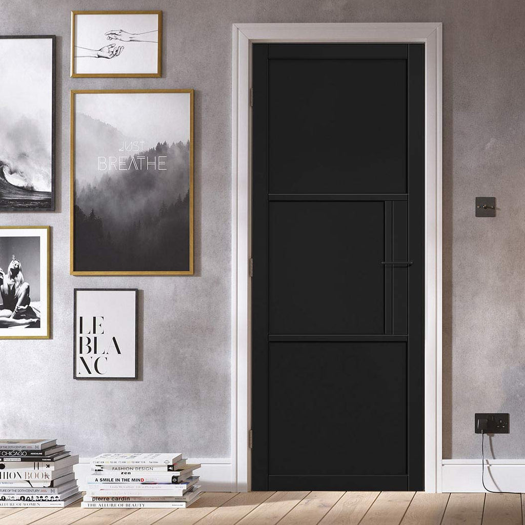 Tribeca 3 Panel Black Primed Door