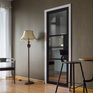 Image: Tribeca 3 Pane Black Primed Door - Clear Glass