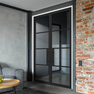 Image: Chelsea 4 Pane Black Primed Door - Clear Glass