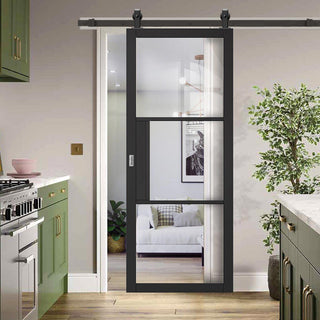 Image: Top Mounted Sliding Track & Door - Tribeca 3 Pane Black Primed Door - Clear Glass