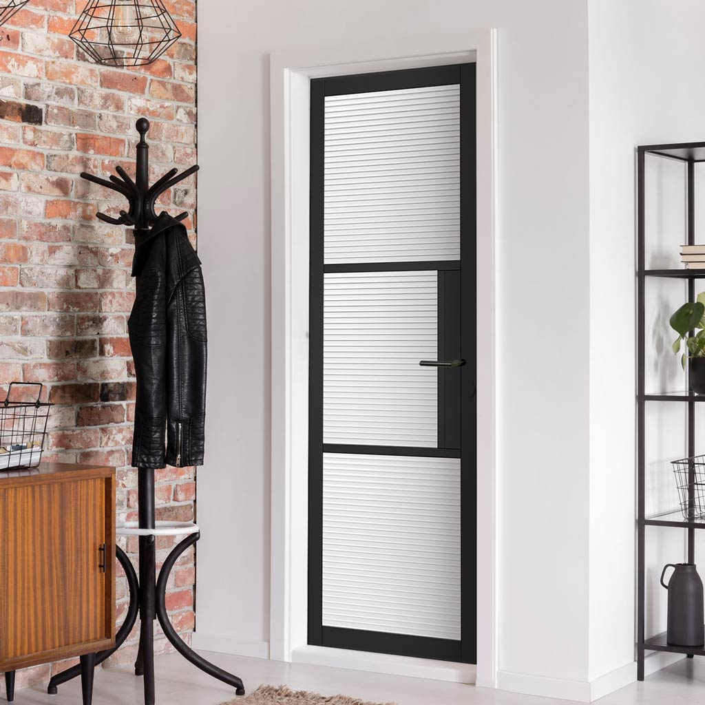 Tribeca 3 Pane Black Primed Door - Reeded Glass