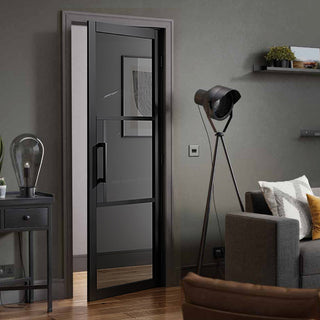 Image: Tribeca 3 Pane Black Primed Door - Tinted Glass