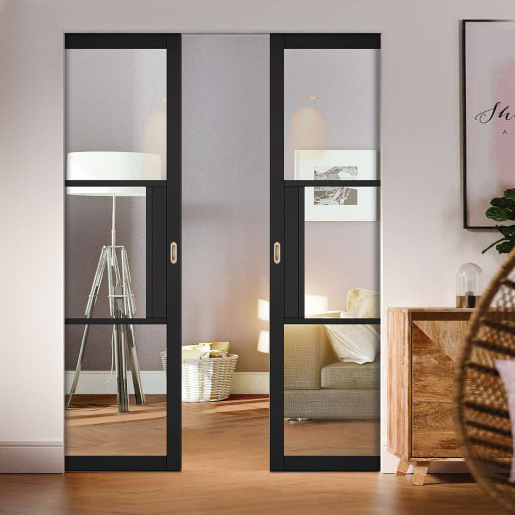 Tribeca 3 Pane Black Primed Absolute Evokit Double Pocket Door - Clear Glass