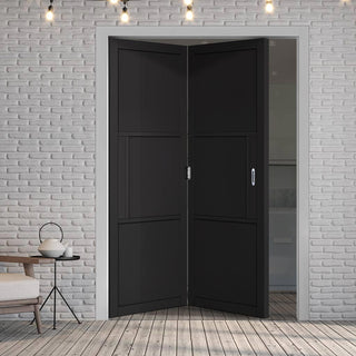 Image: Two Folding Doors & Frame Kit - Tribeca 3 Panel Black Primed 2+0