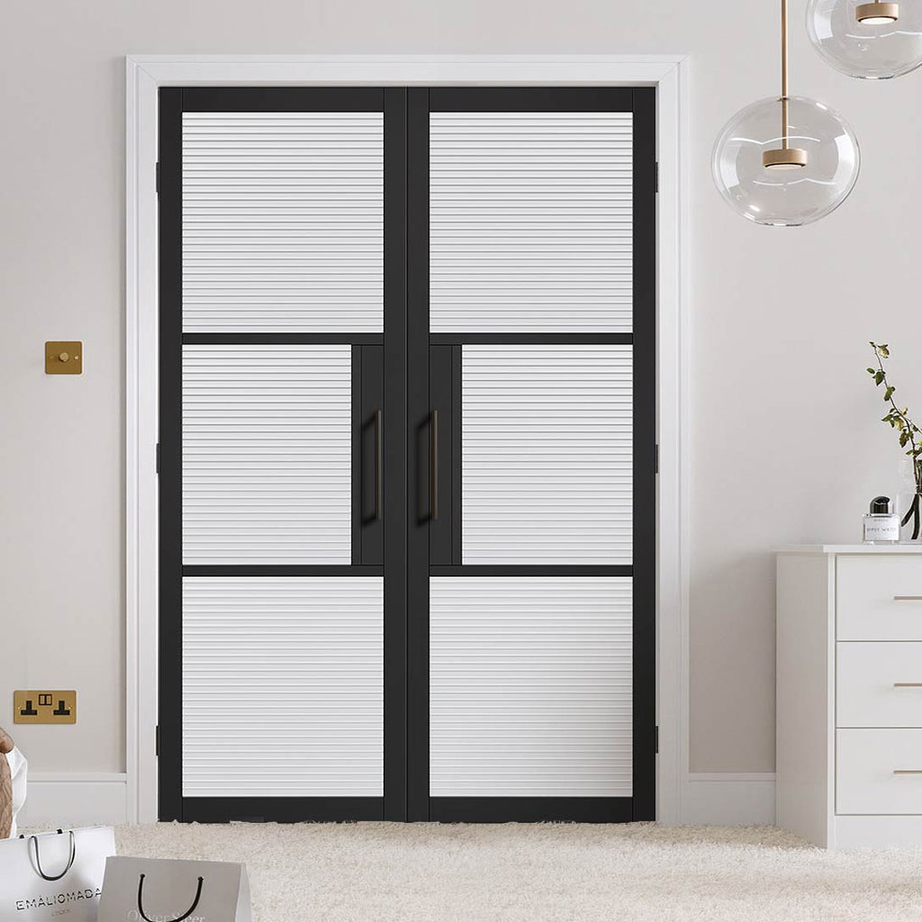 Tribeca 3 Pane Black Primed Door Pair - Reeded Glass