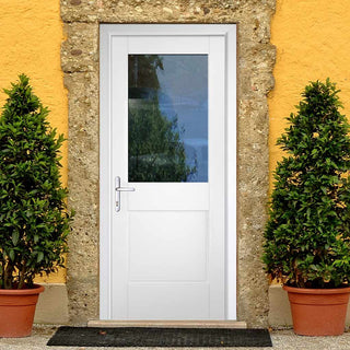 Image: Tricoya White Primed 2XG External Composite Door - Clear Glass