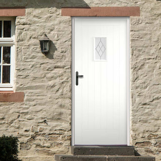 Image: Tricoya White Primed Chancery External Composite Door - Screen Printed Glass