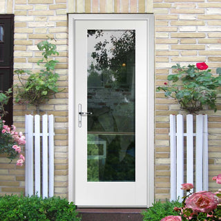 Image: Tricoya White Primed Pattern 10 External Composite Door - Clear Glass