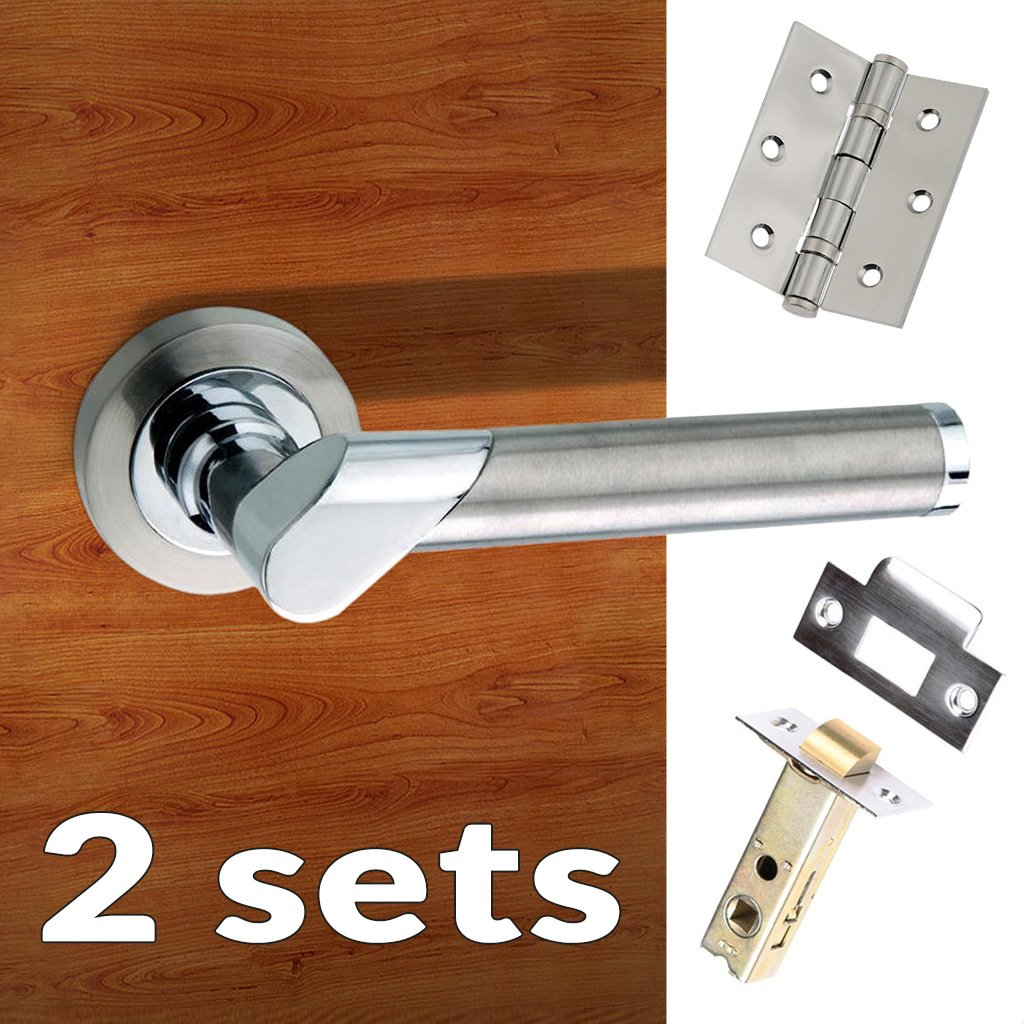 Two Pack Tunis Mediterranean Lever on Rose - Satin Nickel - Polished Chrome Handle