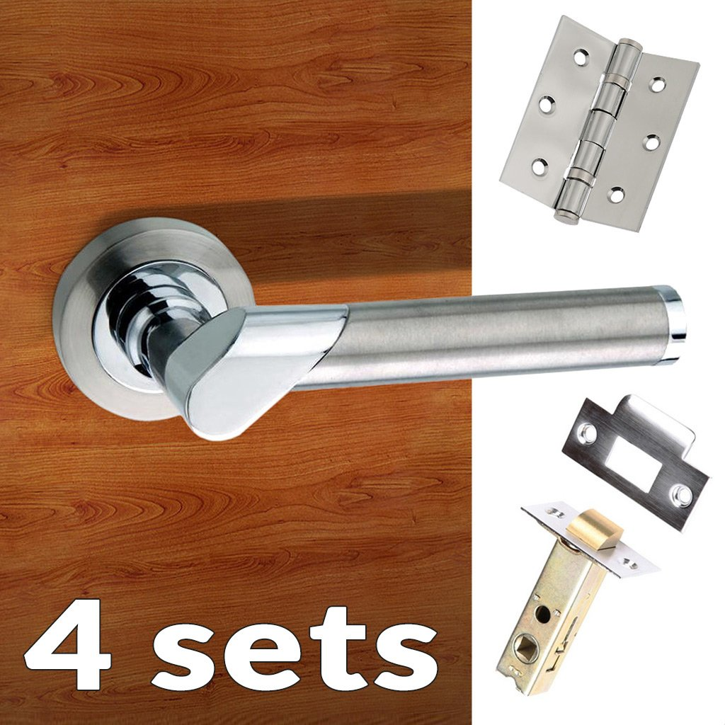 Four Pack Tunis Mediterranean Lever on Rose - Satin Nickel - Polished Chrome Handle