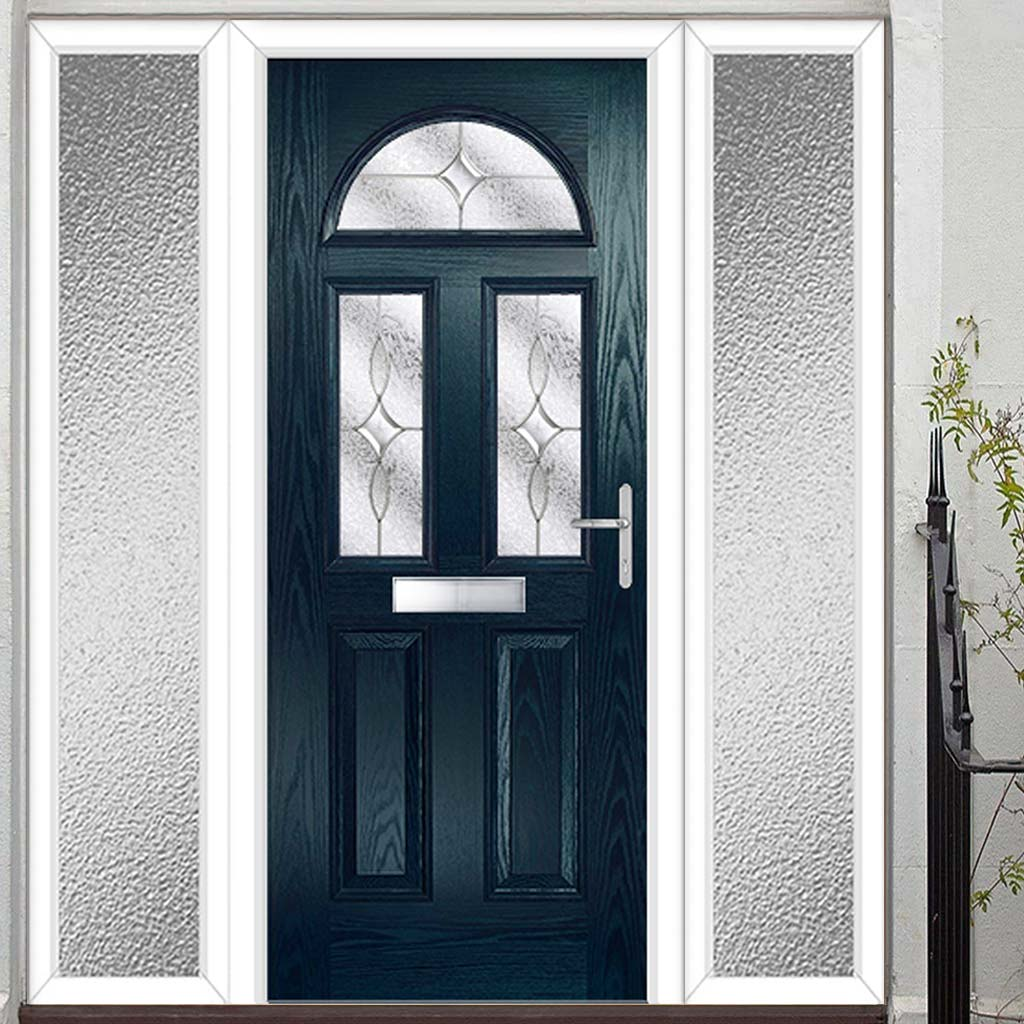 Premium Composite Entrance Door Set with Two Side Screens - Tuscan 3 Flair Glass - Shown in Blue