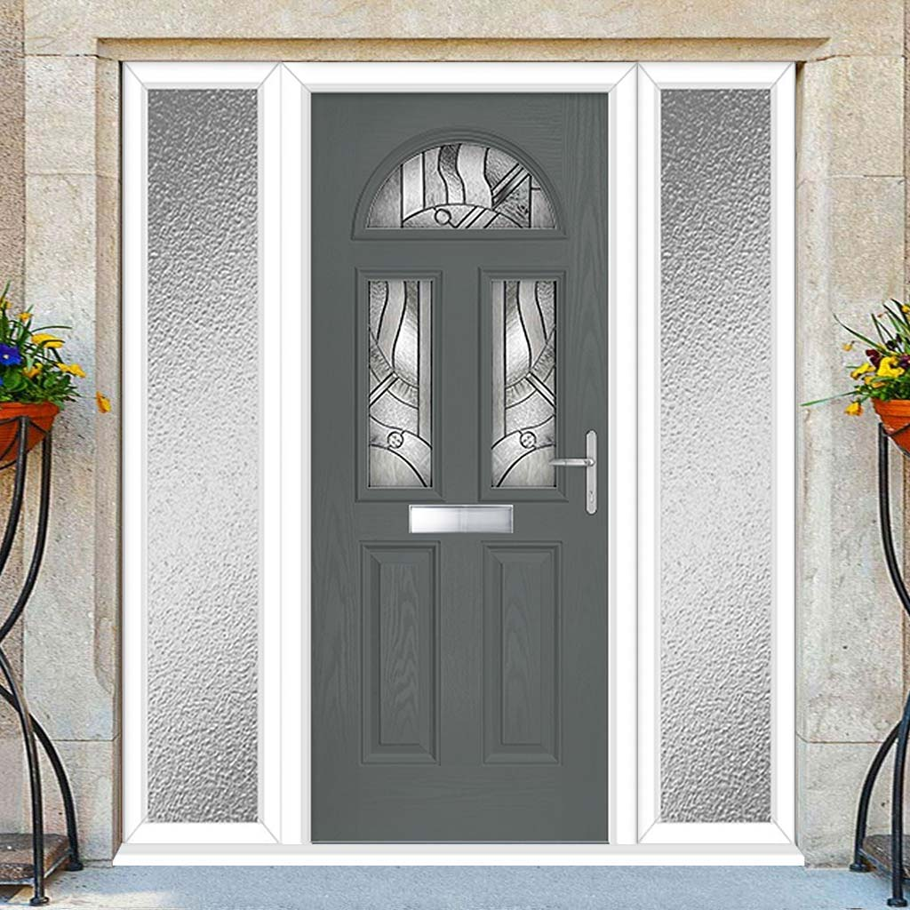 Premium Composite Entrance Door Set with Two Side Screens - Tuscan 3 Abstract Glass - Shown in Mouse Grey