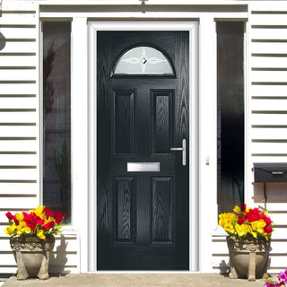 Image: Premium Composite Entrance Door Set - Tuscan 1 Pusan Glass - Shown in Anthracite Grey