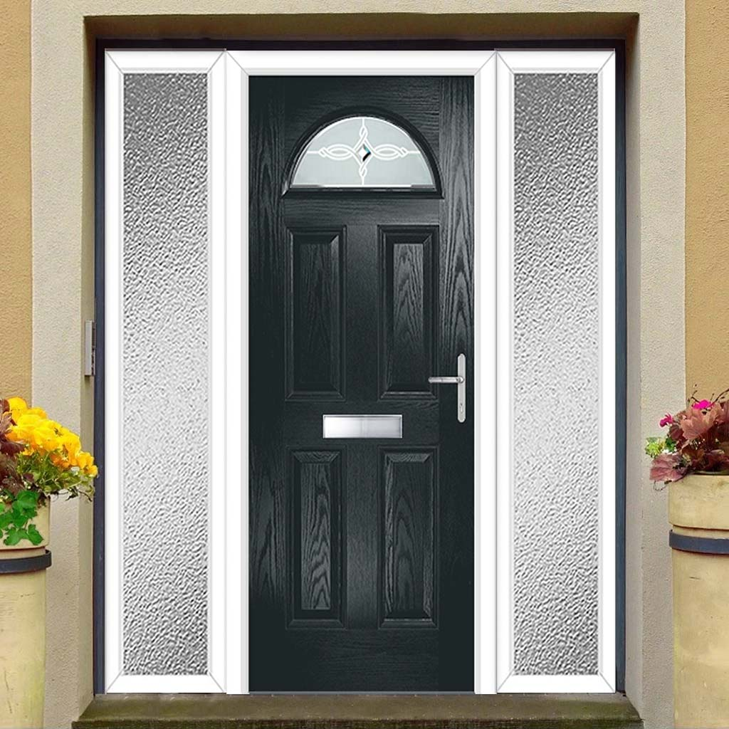 Premium Composite Entrance Door Set with Two Side Screens - Tuscan 1 Pusan Glass - Shown in Anthracite Grey