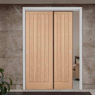 Image: Two Sliding Doors and Frame Kit - Belize Oak Door - Prefinished