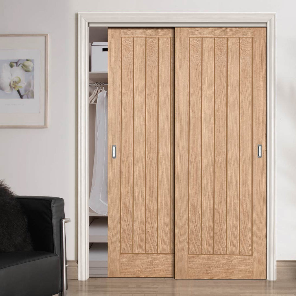 Two Sliding Wardrobe Doors & Frame Kit - Belize Oak Door - Prefinished