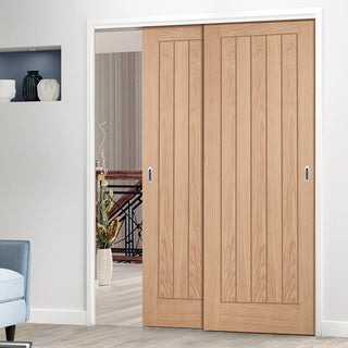Image: Two Sliding Doors and Frame Kit - Belize Oak Door - Unfinished