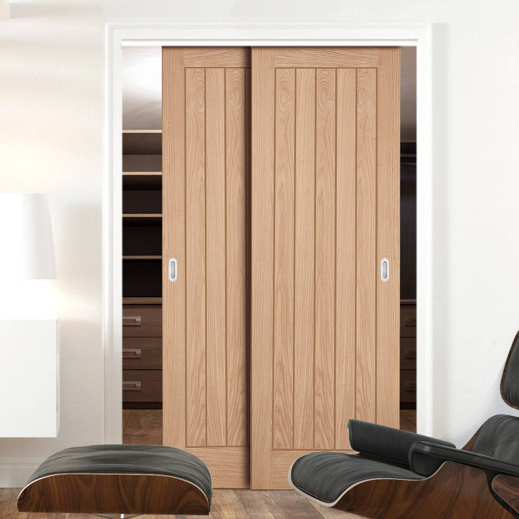 Two Sliding Wardrobe Doors & Frame Kit - Belize Oak Door - Unfinished