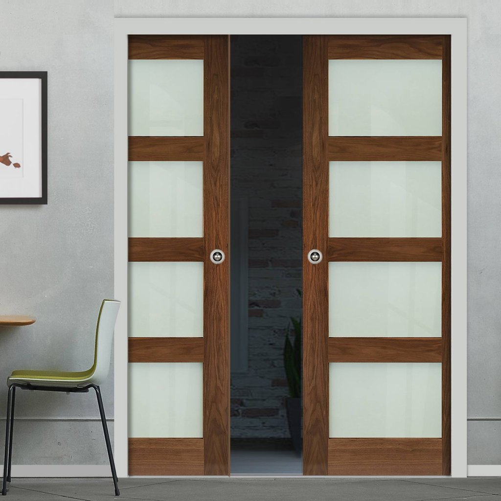 Coventry Walnut Shaker Style Double Evokit Pocket Doors - Frosted Glass - Prefinished