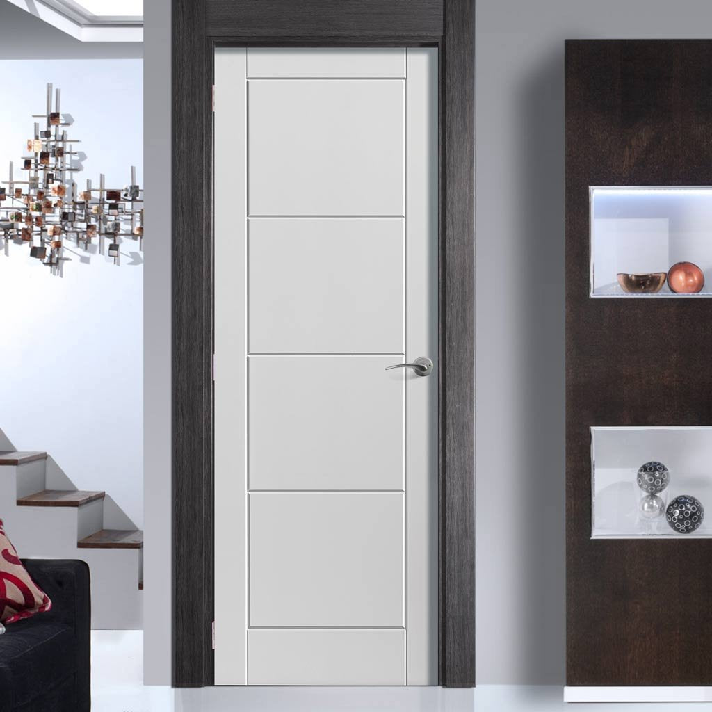 J B Kind White Contemporary Quattro Smooth Moulded Primed Panel Fire Door - 1/2 Hour Fire Rated