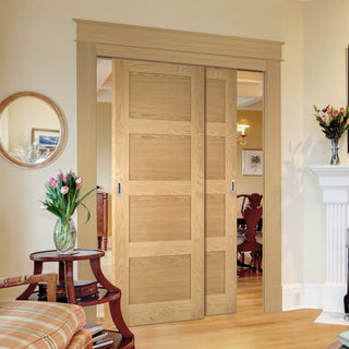 Image: Two Sliding Doors and Frame Kit - Coventry Shaker Style Oak Door - Unfinished
