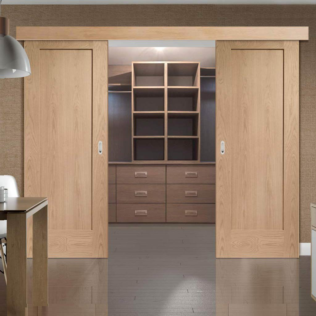 Bespoke Thruslide Surface P10 Oak 1p Sliding Double Door And Track K