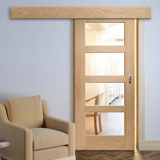 Image: Single Sliding Door & Wall Track - Shaker Oak 4 Pane Door - Clear Glass - Unfinished