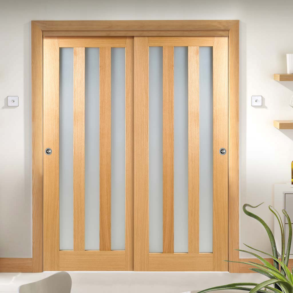 Two Sliding Wardrobe Doors & Frame Kit - Utah Oak Door - Frosted Glass - Unfinished