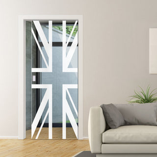 Image: Union Jack Flag 8mm Clear Glass - Obscure Printed Design - Single Evokit Glass Pocket Door