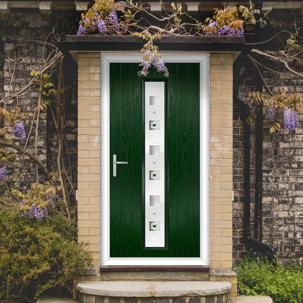 Cottage Style Uracco 1 Composite Door Set with Central Tahoe Green Glass - Shown in Green
