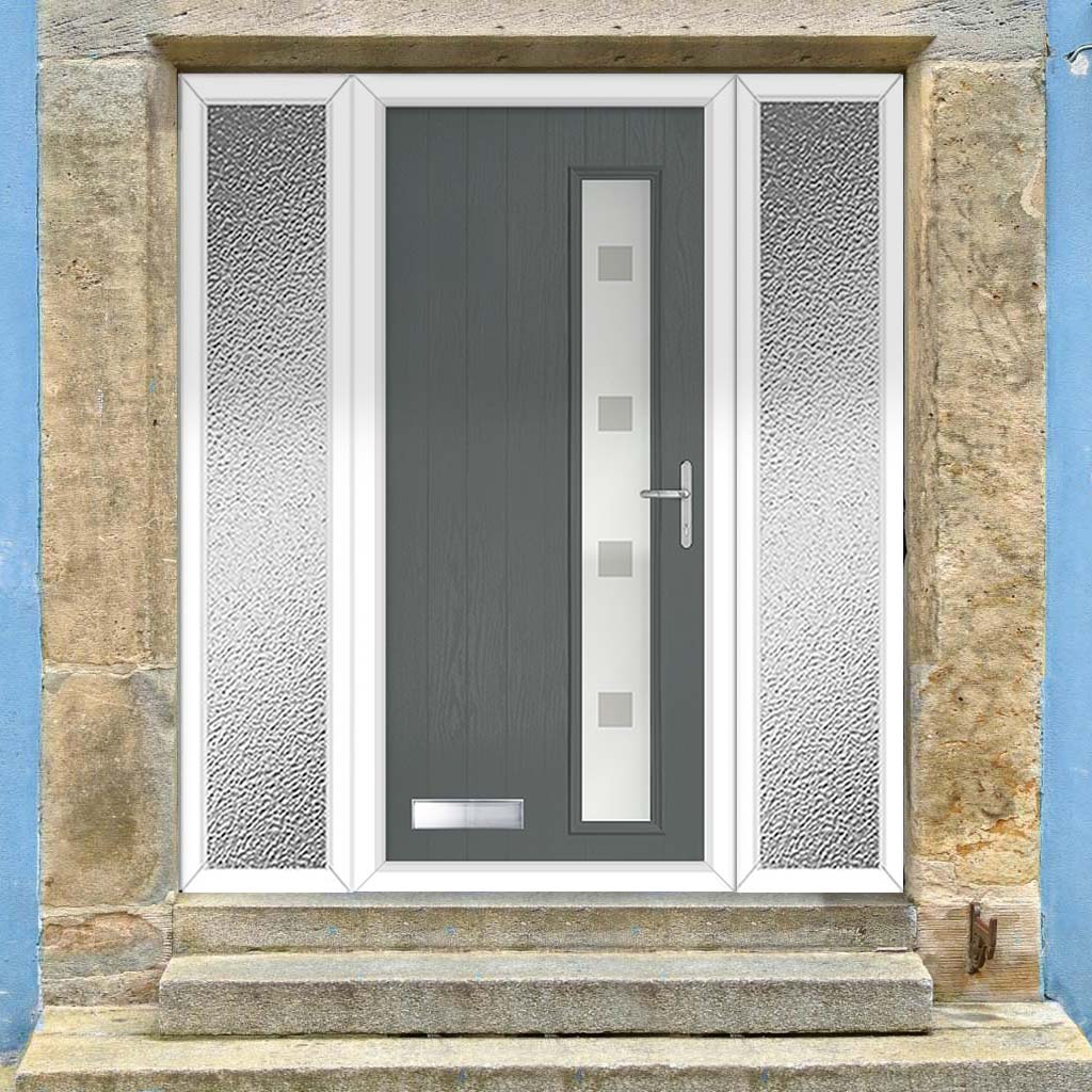 Cottage Style Uracco 1 Composite Door Set with Double Side Screen - Hnd Ellie Glass - Shown in Mouse Grey