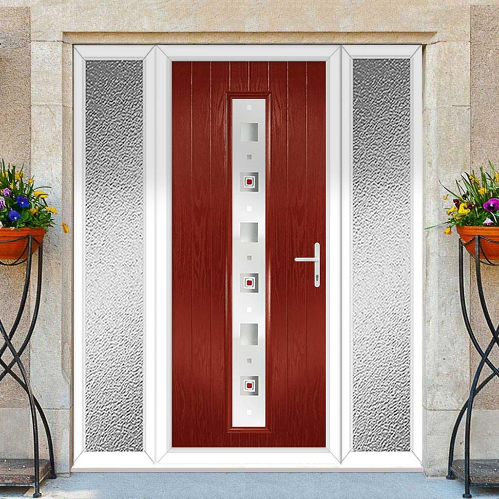 Cottage Style Uracco 1 Composite Door Set with Double Side Screen - Central Tahoe Red Glass - Shown in Red