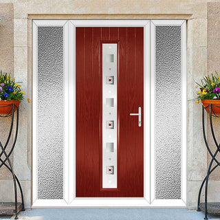 Image: Cottage Style Uracco 1 Composite Door Set with Double Side Screen - Central Tahoe Red Glass - Shown in Red
