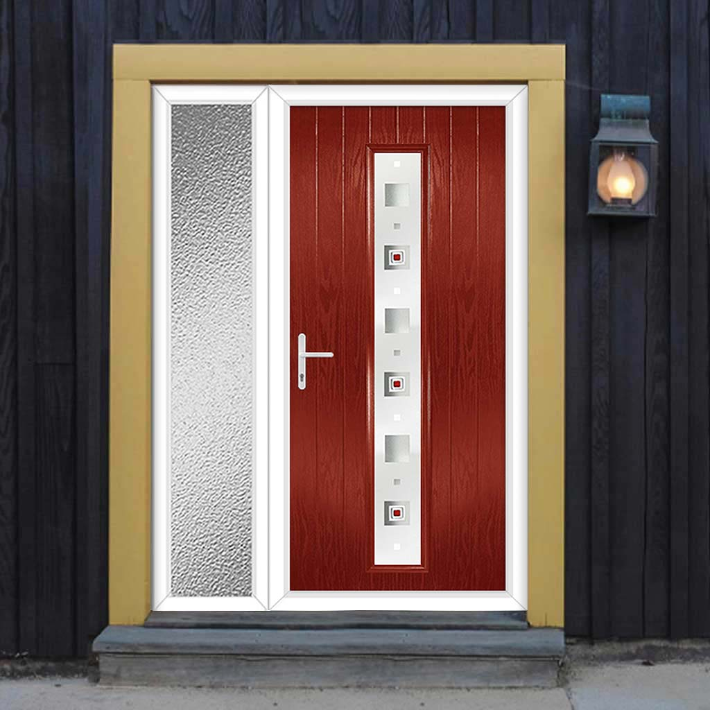Cottage Style Uracco 1 Composite Door Set with Single Side Screen - Central Tahoe Red Glass - Shown in Red