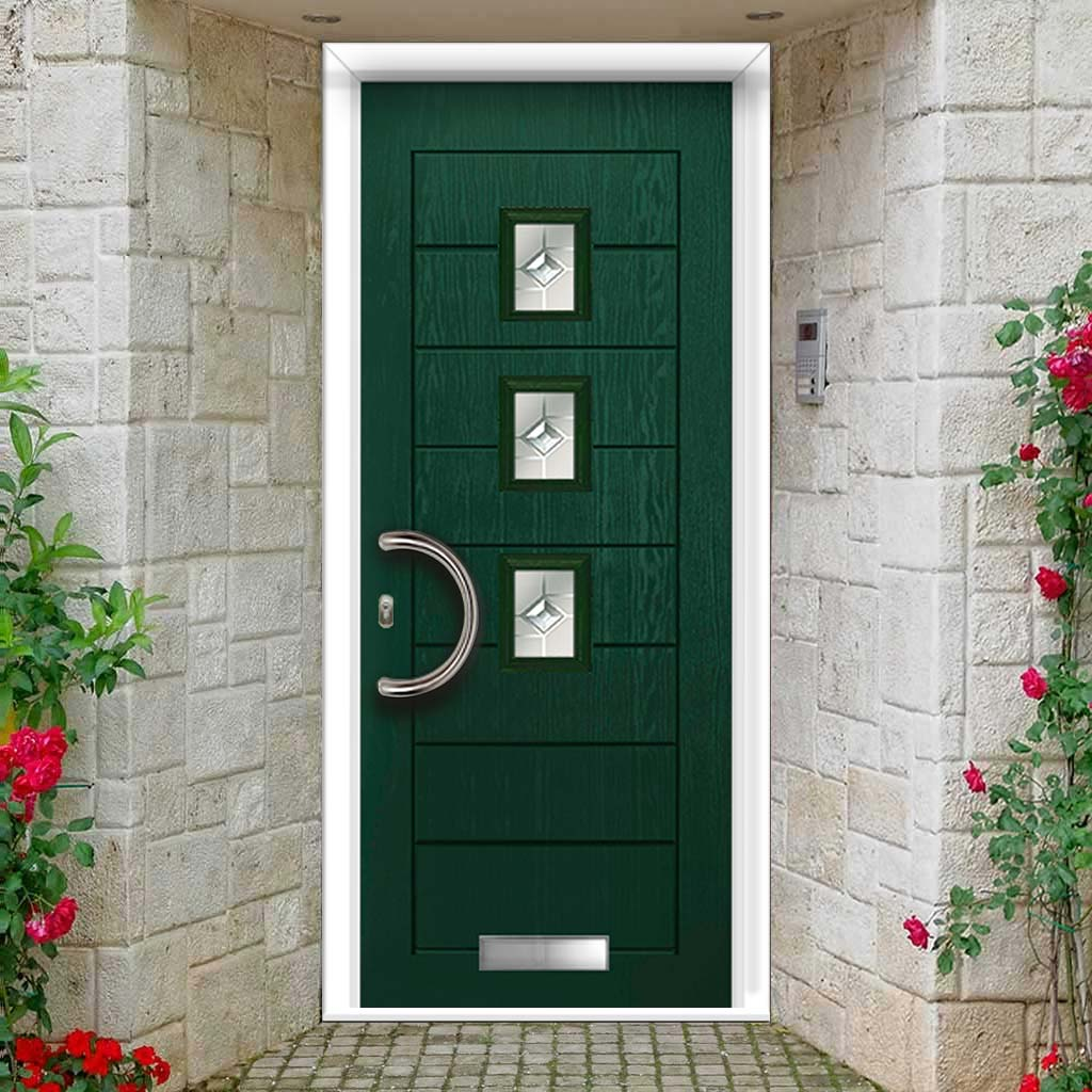 Aruba 3 Urban Style Composite Door Set with Central Roma Glass - Shown in Green