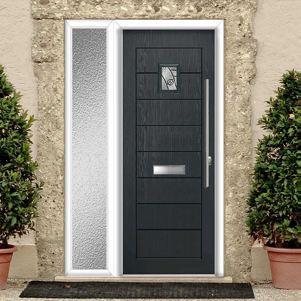 Aruba 1 Urban Style Composite Door Set with Single Side Screen - Abstract Glass - Shown in Anthracite Grey