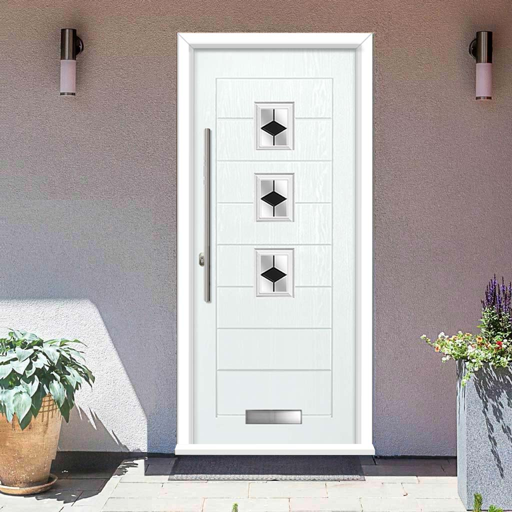Aruba 3 Urban Style Composite Door Set with Diamond Black Glass - Shown in White