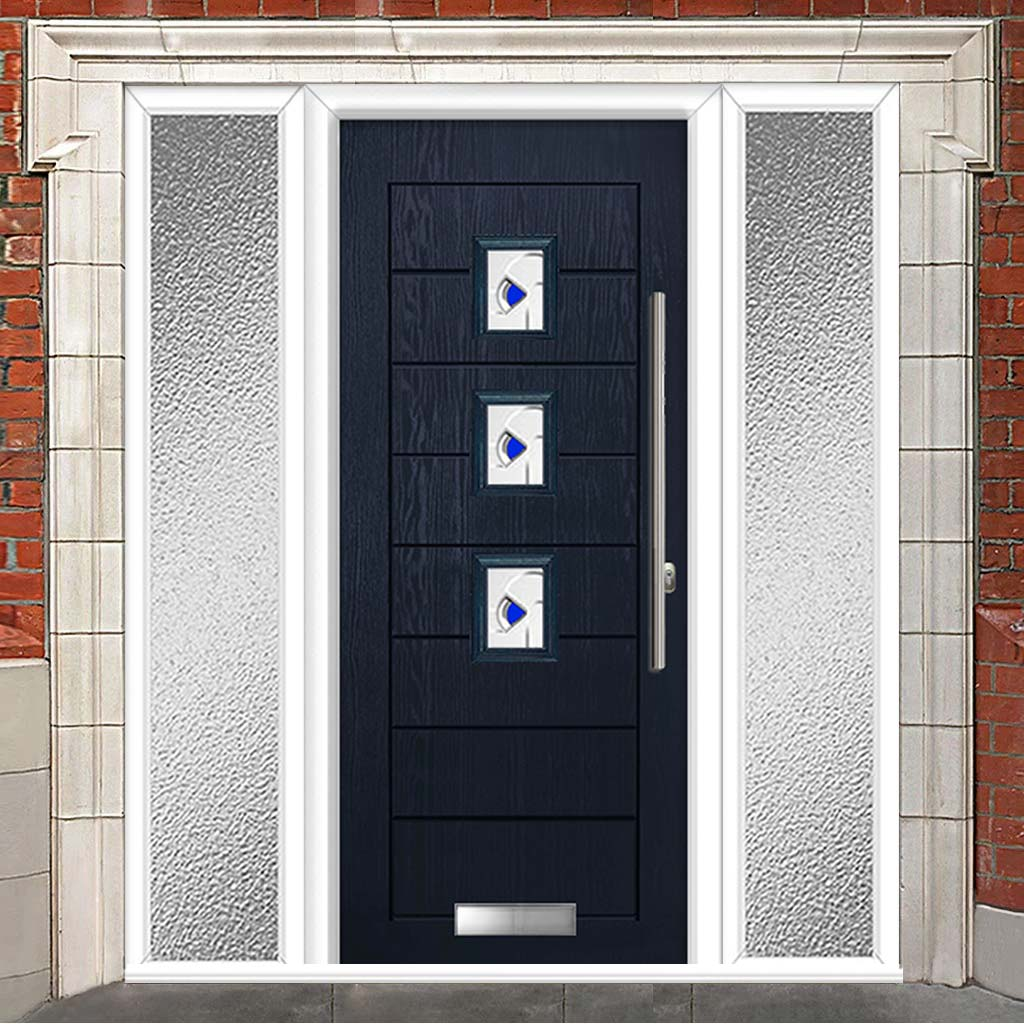 Aruba 3 Urban Style Composite Door Set with Double Side Screen - Kupang Blue Glass - Shown in Blue