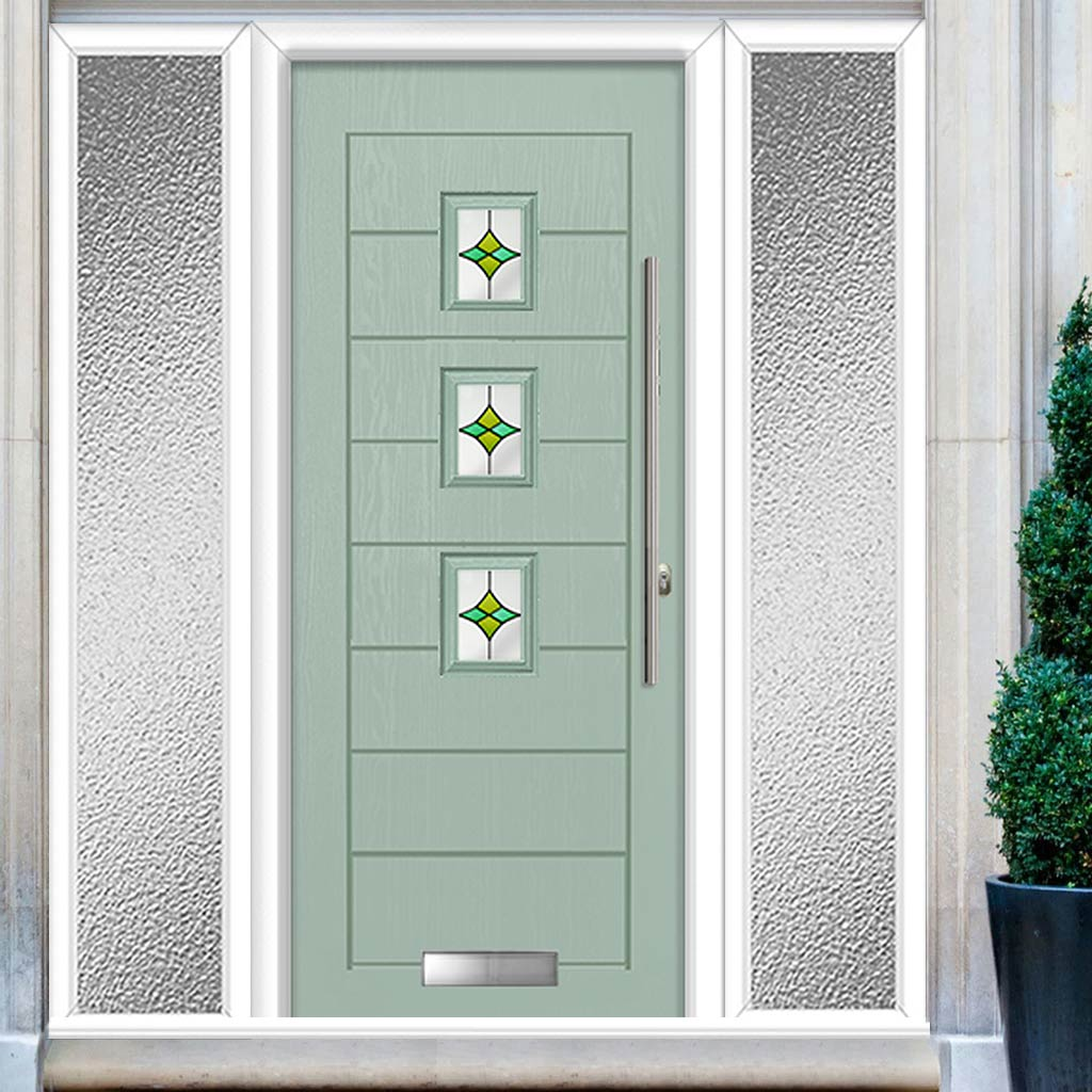 Aruba 3 Urban Style Composite Door Set with Double Side Screen - Laptev Green Glass - Shown in Chartwell Green